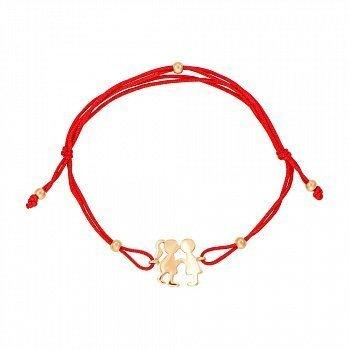 Браслет из красного золота и шелковой нити 000121591