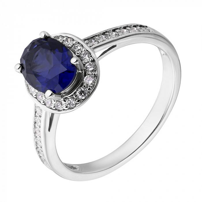 Золотое кольцо Кирина с гидротермальным сапфиром и бриллиантами  000065083