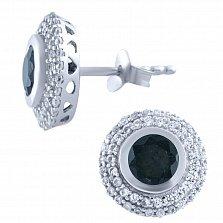 Серебряные серьги Шанти с сапфирами и фианитами