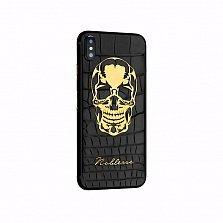 Apple IPhone X Noblesse WORTHY SKULL в черной коже c изображением черепа из золота