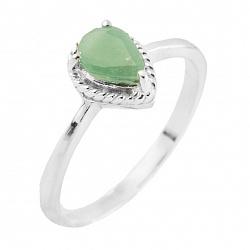 Серебряное кольцо Урсула с изумрудом