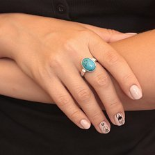 Серебряное кольцо Грата с бирюзой и фианитами