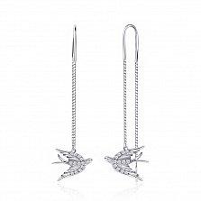 Серебряные серьги- протяжки Милые пташки с фианитами