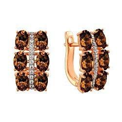 Золотые серьги в комбинированном цвете с раухтопазами и фианитами 000122902