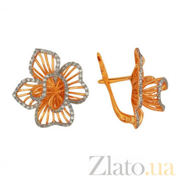 Серьги из красного золота с цирконием Осенняя хризантема VLT--ТТ2209-2