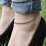Серебряный браслет на ногу Мирена с чёрным цирконием