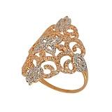 Кольцо из красного и белого золота Кружево с фианитами