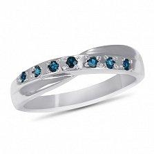 Кольцо из белого золота Хлоя с темно-голубым топазом
