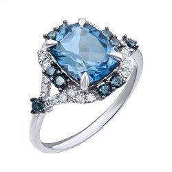 Золотое кольцо в комбинированном цвете с лондон топазом и бриллиантами 000139444