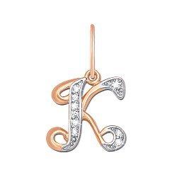 Кулон из комбинированного золота Буква К с фианитами 000104574