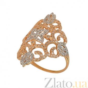 Кольцо из красного и белого золота Кружево с фианитами VLT--ТТТ1180