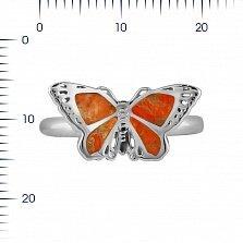 Серебряное кольцо Солнечный мотылек с оранжевой яшмой