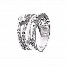 Серебряное кольцо Марсель с фантазийной шинкой и завальцованными фианитами