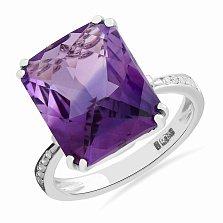Кольцо в белом золоте Фелиция с аметистом и бриллиантами