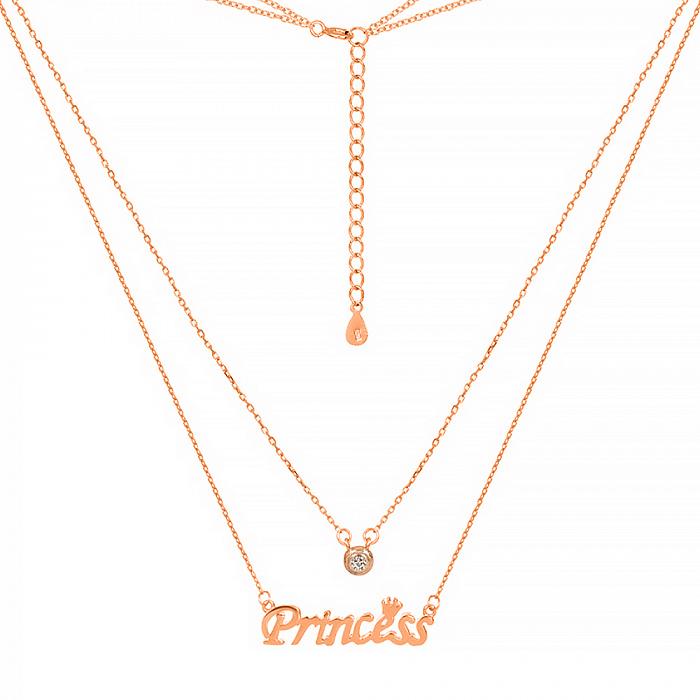 Серебряное многослойное колье Princess в позолоте с завальцованным фианитом 000028481