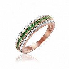 Серебряное кольцо Эланор с позолотой и фианитами