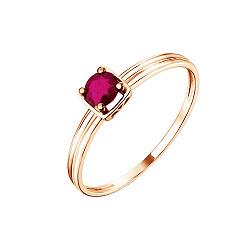 Золотое кольцо Магда в красном цвете с рубином и фактурной шинкой