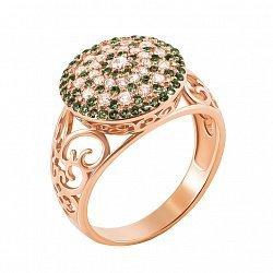 Кольцо из красного золота с зелеными и белыми фианитами 000127063