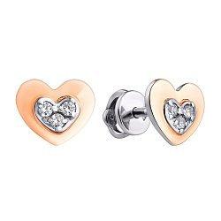 Серебряные пуссеты с фианитами 000011179