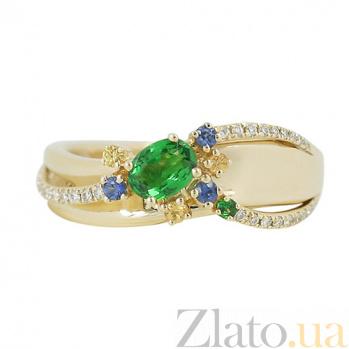Золотое кольцо с цаворитами, сапфирами и бриллиантами Осенняя феерия 000026824
