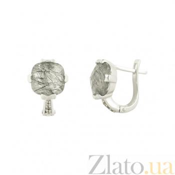 Серебряные серьги с кварцем и фианитами Хаят 3С379-0015