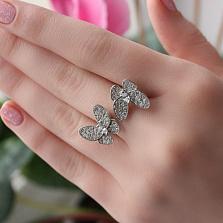 Серебряное кольцо Бабочки с фианитами