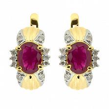 Золотые серьги с бриллиантами и рубинами Флора