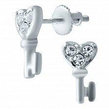 Серебряные серьги-пуссеты Ключики любви с фианитами