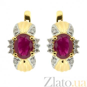 Золотые серьги с бриллиантами и рубинами Флора ZMX--ER-6143y_K