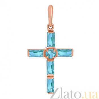Золотой крестик с топазами Эстетика ар-деко VLN--114-004-1