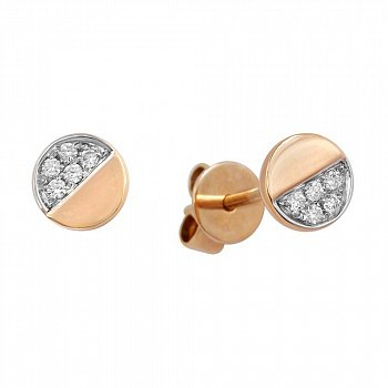 Серьги-пуссеты из красного золота Полумесяц с бриллиантами 000097461