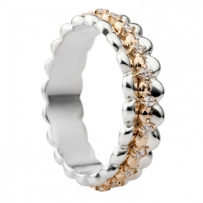Серебряное кольцо с золотой вставкой и цирконием Лэтти 000030003
