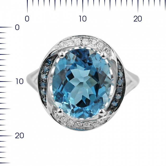 Кольцо из белого золота Ребекка с голубым топазом, голубыми и белыми бриллиантами 000080891