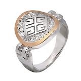 Серебряное кольцо с фианитами и золотой вставкой Тифани