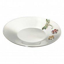 Серебряное блюдце Стрекоза с двумя цветочками и разноцветной эмалью