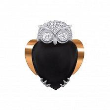 Серебряная брошка Совушка с золотой накладкой, черным ониксом и фианитами
