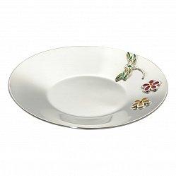 Серебряное блюдце Стрекоза с двумя цветочками и разноцветной эмалью 000113926