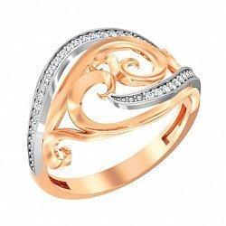Золотое кольцо с фианитами 000091022
