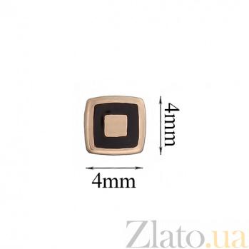 Золотые серьги-пуссеты Геометрия квадрата с эмалью TNG--500044Е