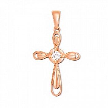 Декоративний хрестик із червоного золота з діамантом 000134565