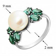 Серебряное кольцо Ксена с белым жемчугом и зеленым кварцем