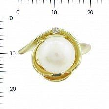 Кольцо из желтого золота Дамиана с жемчугом и бриллиантами