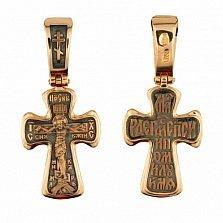 Золотой крест с черным родием Воскресение Христа