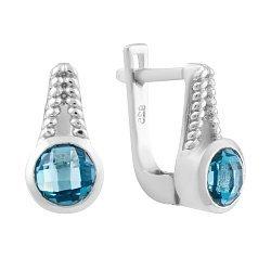 Серебряные серьги с завальцованными лондон топазами 000075357