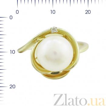 Кольцо из желтого золота Дамиана с жемчугом и бриллиантами 000080965