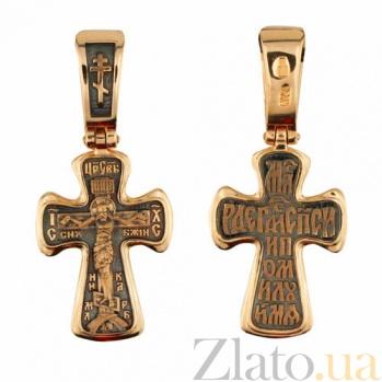 Золотой крест с черным родием Воскресение Христа VLT--КС1-3049-3