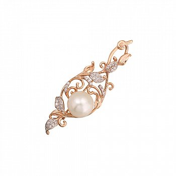 Золота брошка у комбінованому кольорі з перлами і фіанітами 000124333
