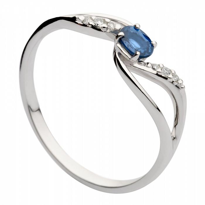 Кольцо из белого золота с сапфиром и бриллиантами Мадлен 000030364