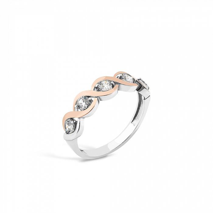 Серебряное кольцо Роберта с золотыми вставками и фианитами 000082143