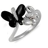 Кольцо Алиса из белого золота с агатом и бриллиантами